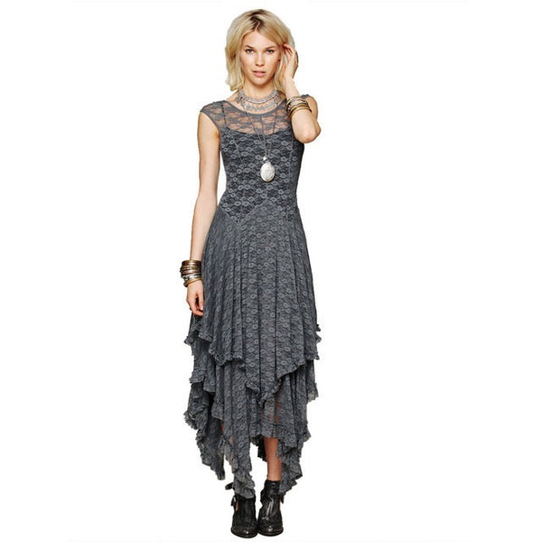 Boho People Hippie Style Asymmetrical Embroidery Sheer Lace Dresses Double Layered Ruffled Trimming Low V-back (No Lining) - MAXMARTZ