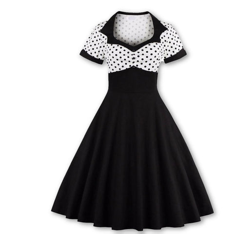 2017 Short Sleeve Summer Women Dress S-4XL Plus Size Polka Dot 50s 60s Swing Retro Vintage Dress Black and White - MAXMARTZ