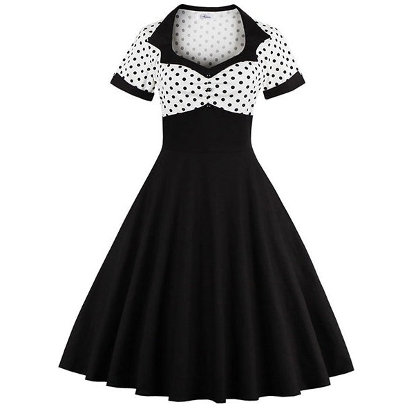 Short Sleeve Summer Women Dress S-4XL Plus Size Polka Dot 50s 60s Swing Retro Vintage Dress Black and White - MAXMARTZ