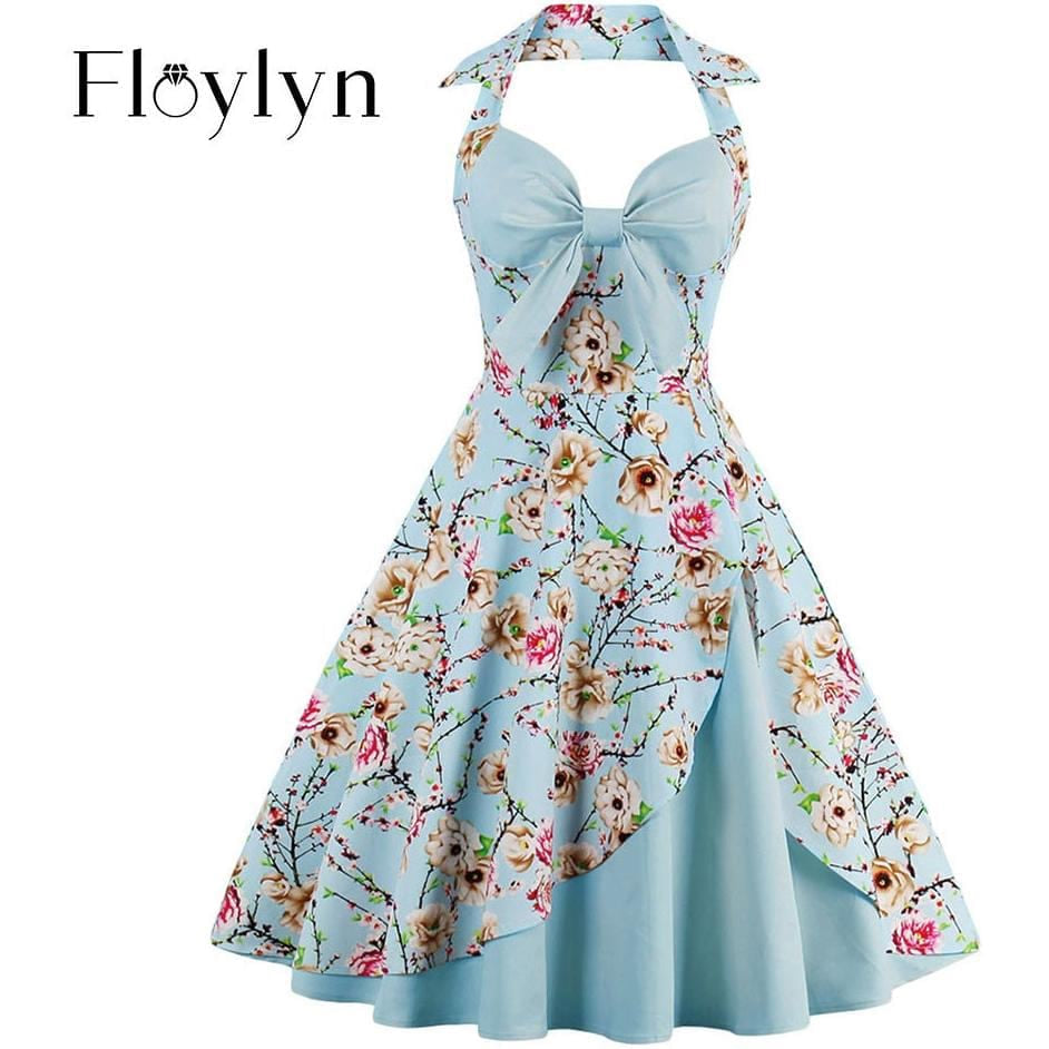 Floylyn 1950s Vintage Dresses Floral Print Retro Stitching Patchwork Party Robe Bow Sexy Strap Sky Blue Female Vintage Dresses