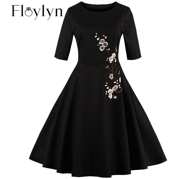Floylyn 3XL 4XL Plus Size Embroidery Dress Floral Half Sleeve Summer Elegant Black Dress Vintage Plus Size Women Sequins Dress