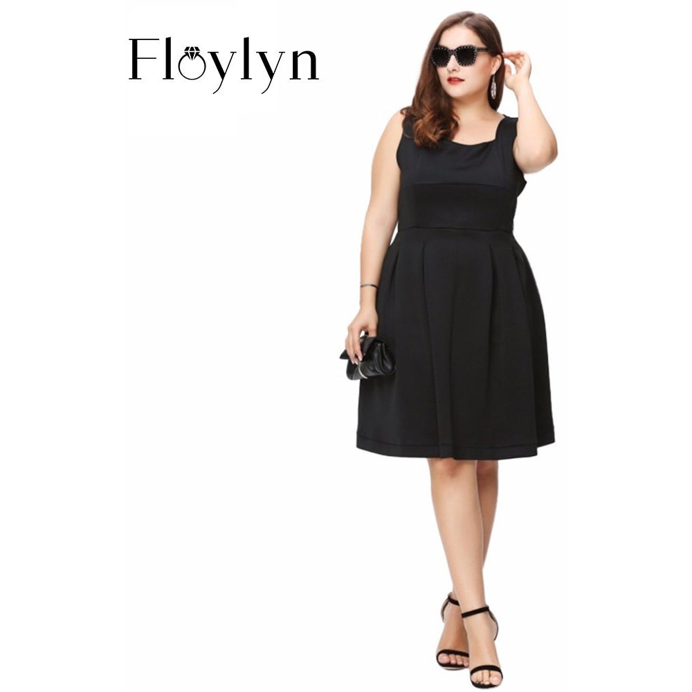 Floylyn 2017 Women Plus Size A-Line Summer Strapless Vintage Elegant Big Large Size 3XL 4XL 5XL 6XL Slim Dress - MaxMartz