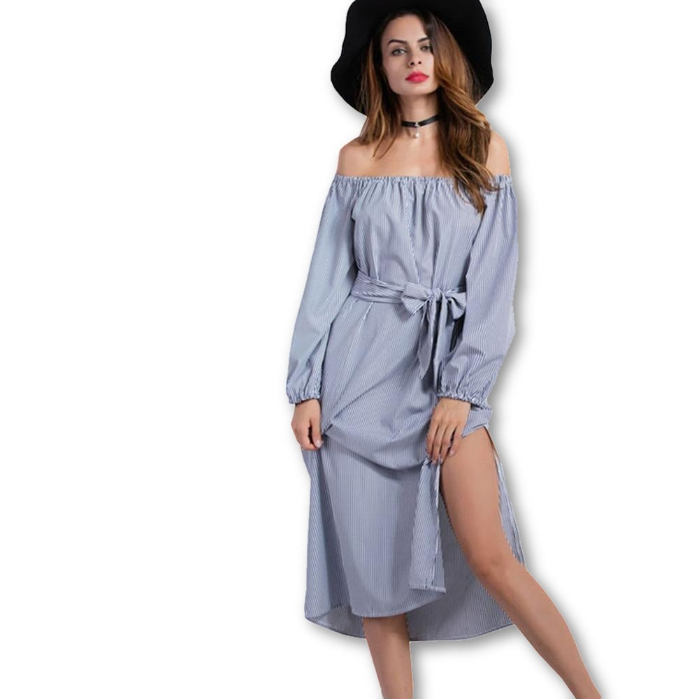 Casual Striped T Shirt Summer Dress Women Off The Shoulder Sexy Beach Midi Dress Sundress - MAXMARTZ