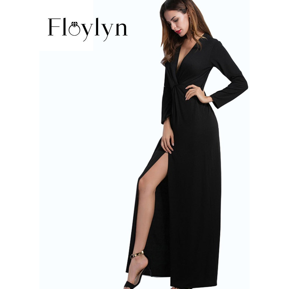 FLOYLYN Sexy V Neck Plunge Lady Party Dress Long Maxi Club Split Women Dress - MAXMARTZ