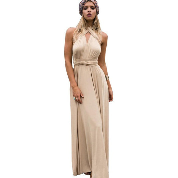 FLOYLYN Sexy Women Boho Maxi Club Dress Red Bandage Long Dress Party Multiway Bridesmaids Convertible Robe - MAXMARTZ