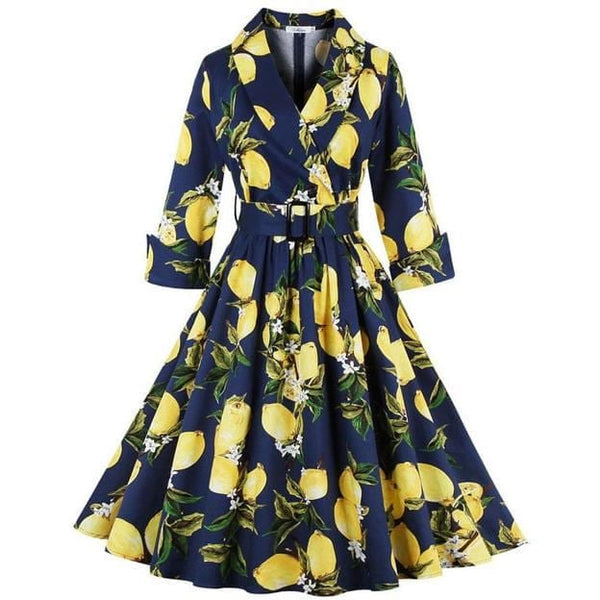 Lemon Print Women Dress S-4XL Plus Size 3/4 Sleeve Retro Swing Vintage Dress 50s 60s Party - MAXMARTZ