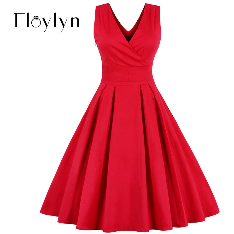 Red Dress, Sexy V Neck Pleated Dress Plus Size Sleeveless Backless Vintage Party Elegant Bow Dress - MAXMARTZ