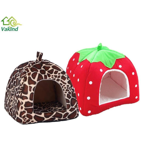 Soft Pet Cat House Leopard Strawberry Dog Bed Cute Animal Nest Foldable Puppy Dog Kennel Cat Bed High Quality | MaxMartz
