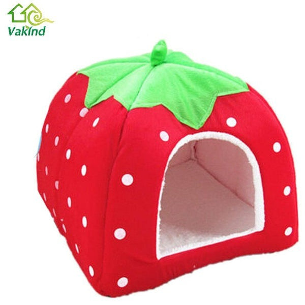 Soft Pet Cat House Leopard Strawberry Dog Bed Cute Animal Nest Foldable Puppy Dog Kennel Cat Bed High Quality - MAXMARTZ