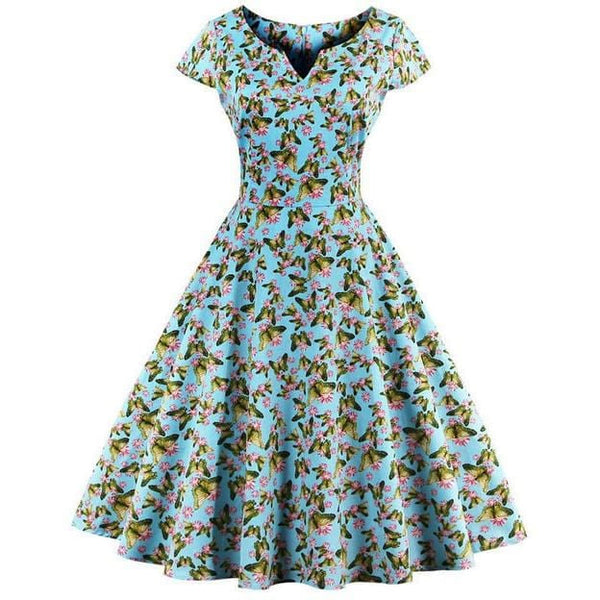FLOYLYN Summer Dress S-4XL Women Cap Sleeve Blue White Black Polka Dot Floral Print Retro Swing Vintage Dress - MAXMARTZ