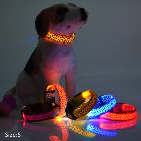 LED Lights Leopard Pets Collars,Adjustable Nylon Glow In Night Pet Dog Cat Puppy Safe Luminous Flashing Necklace Pet Supplies - MAXMARTZ