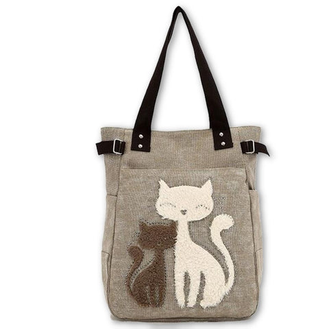 Cute Cat Canvas Tote Bag - Light Brown