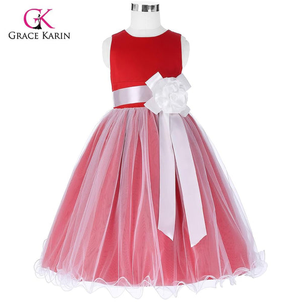 Red Flower Girl Dresses for Wedding Big Bow Ankle Length Meisjes Jurk First Communion Dresses for Girls Party Dresses - MAXMARTZ