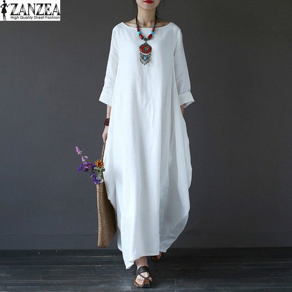 Crewneck 3/4 Sleeve Baggy Maxi Long Casual Party Shirt Dress / Kaftan, Plus Size - MAXMARTZ