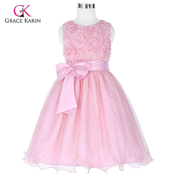 Cheap Pink Flower Girl Dresses Baby Pageant Birthday Party Dress Zipper Tulle First Communion Gown Purple Flower Girls Dresses