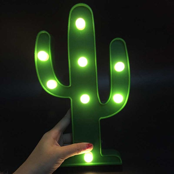 LED Flamingo Night Light Marquee Sign Star Cactus Table Lamps Romantic 3D Wall Lamp - MAXMARTZ