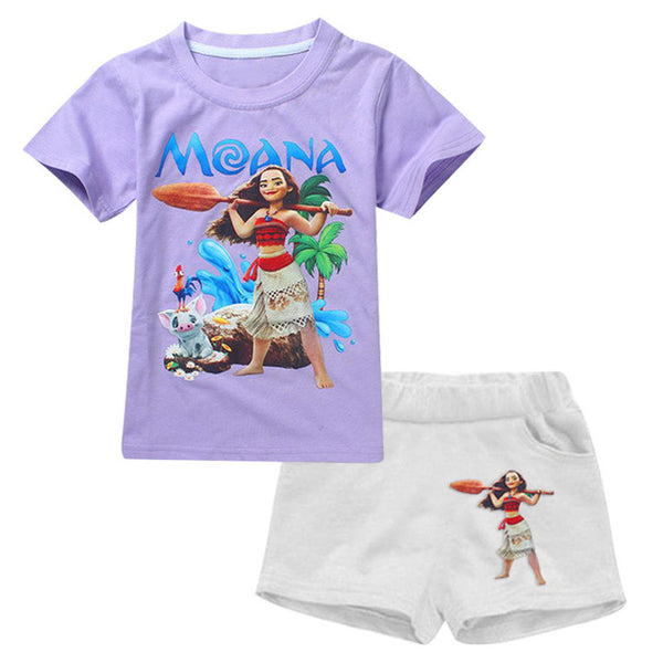 MOANA Elsa Anna Sets Tracksuit For Girls Kids Clothes Sets Summer Boys Sport Suit Short Sleeve Girls Childrens Clothing Costume - MAXMARTZ