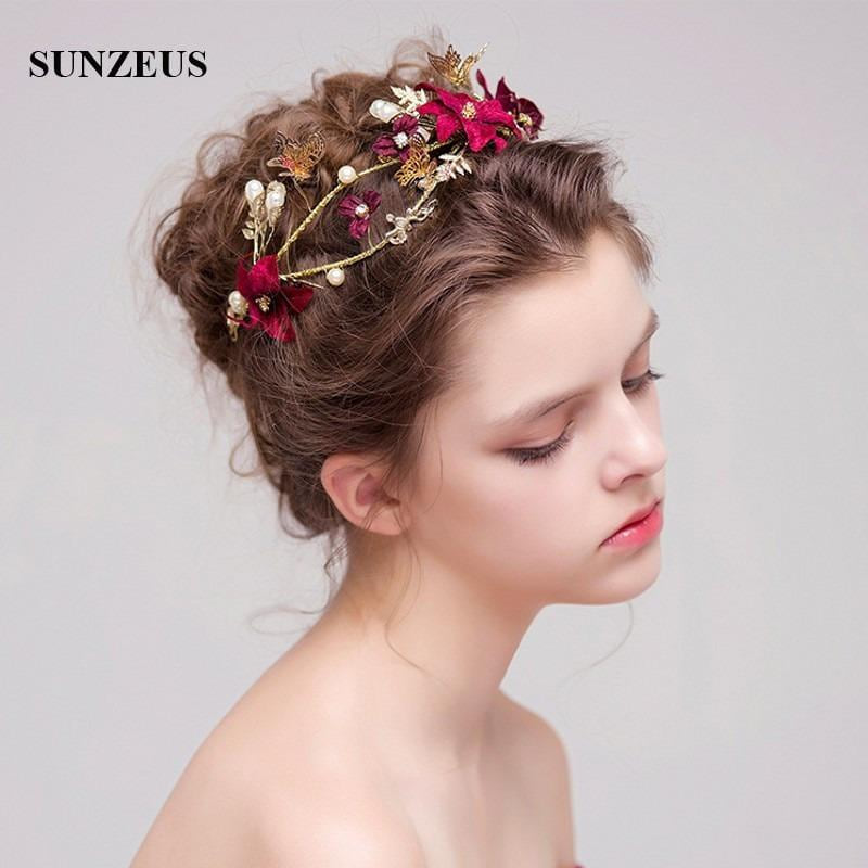 Bridal Headband / Tiara, Gold with Butterfly & Red Flowers - MAXMARTZ