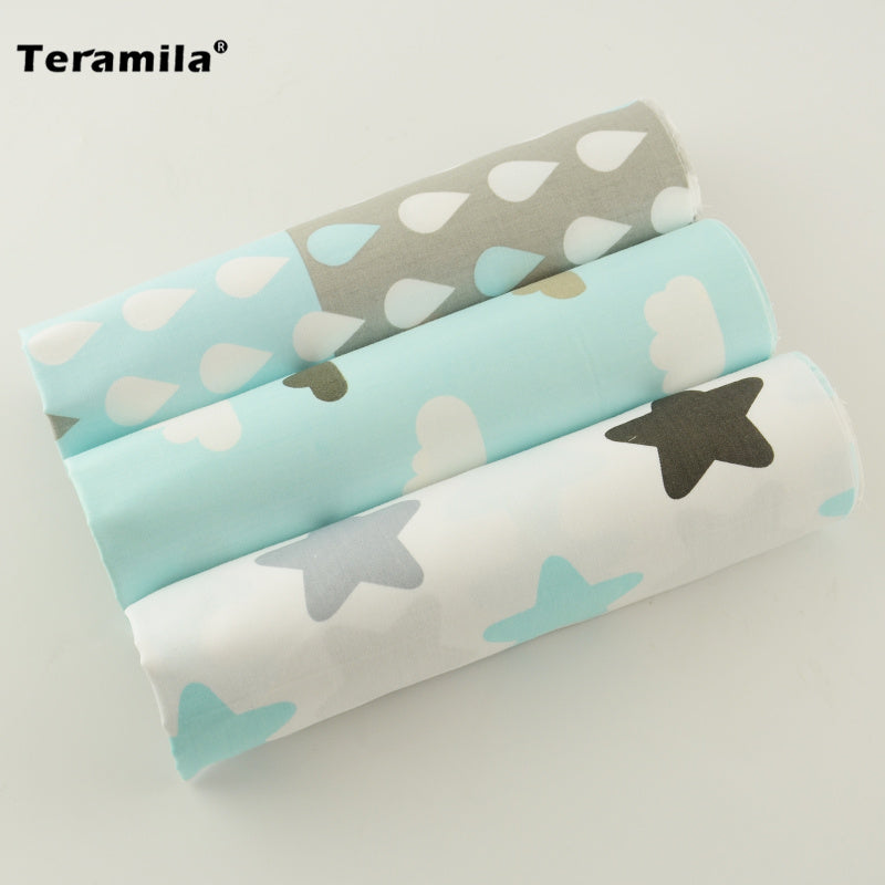 3 Piece Cotton Fabric Simple Star and Weather Pattern Light Lovely Color Fat Quarters Bundle for Handmade DIY Carft Toy Sewing - MAXMARTZ