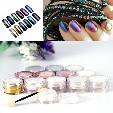 High Quality 3g/box Shinning Mirror Nail Glitter Powder Dust DIY Nail Art Sequins Chrome Pigment Decorations 12 Colors Optional - MAXMARTZ