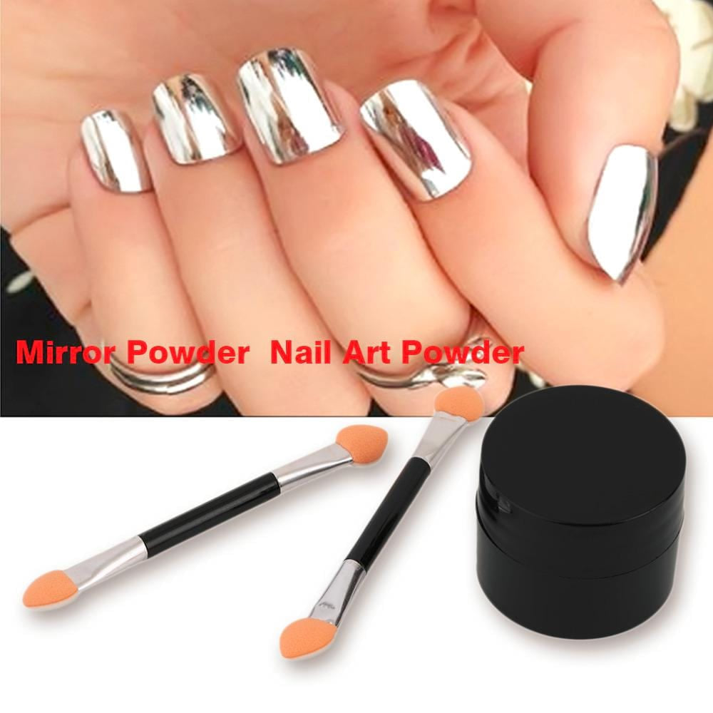 2g Silver Mirror Powder Metallic Effect Dust Chrome Pigment Shinning Nail Art Powder Magic Look Nails Decorations With 2 Brush - MAXMARTZ