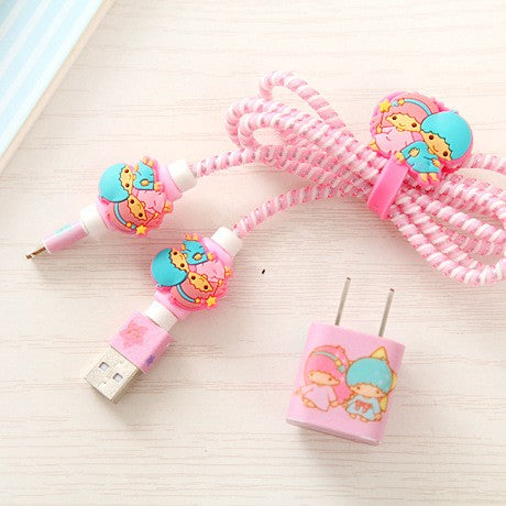 1 Set USB Cable Earphone Protector Cable Winder Cartoon stickers USB Charger cable cord protector For iphone 5 5S 6 6s Plus 7