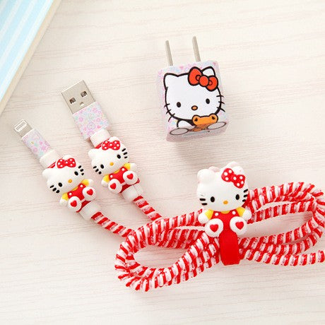 1 Set USB Cable Earphone Protector Cable Winder Cartoon stickers USB Charger cable cord protector For iphone 5 5S 6 6s Plus 7 - MAXMARTZ