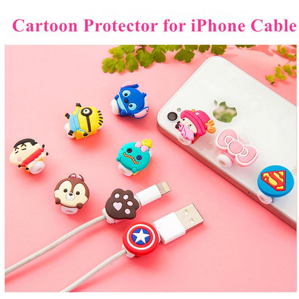 Cute Cartoon Charger Cable Protector de cabo USB Cable Winder Cover Case For IPhone 5 5s 6 6s 7 7 plus Cable Protect Stitch Gift - MAXMARTZ