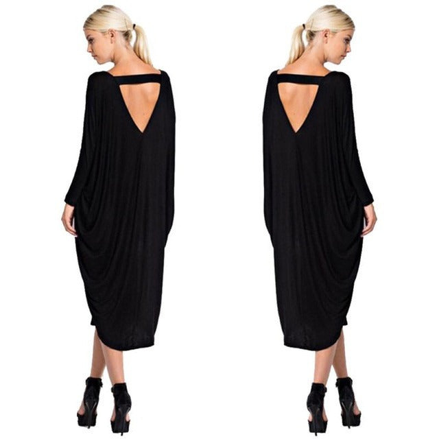 Summer Autumn Women Dress Party sexy Long sleeve beach loose backless Casual Solid Black Brown Long Dress - MAXMARTZ