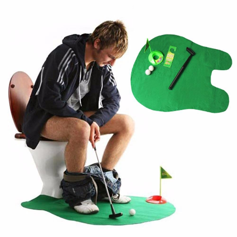 Potty Putter Toilet Golf Game Mini Golf Set Toilet Golf Putting Green Novelty Game Hig Quality For Men and Women Practical Jokes - MAXMARTZ
