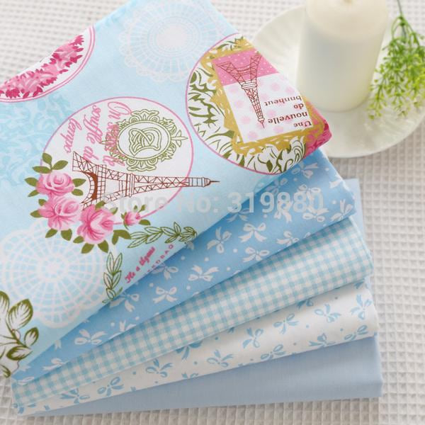 5pcs Blue Cotton Fabric Fat Quarter Quilting Patchwork fabric Baby Bedding Textile For Patchwork Sewing Doll cloth 40cm*50cm - MAXMARTZ