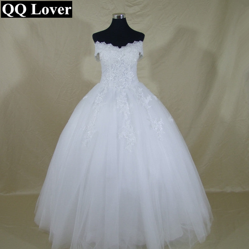 QQ Lover Vestido De Novia New Bride Princess White Lace Embroidery Plus Size Wedding Dress - MAXMARTZ