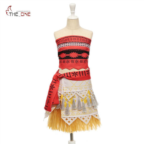 MUABABY Girls Moana Costume Little Girls Advanture Outfit Children Summer Beach Dress Kids Halloween Cosplay Dresses Clothing | MaxMartz