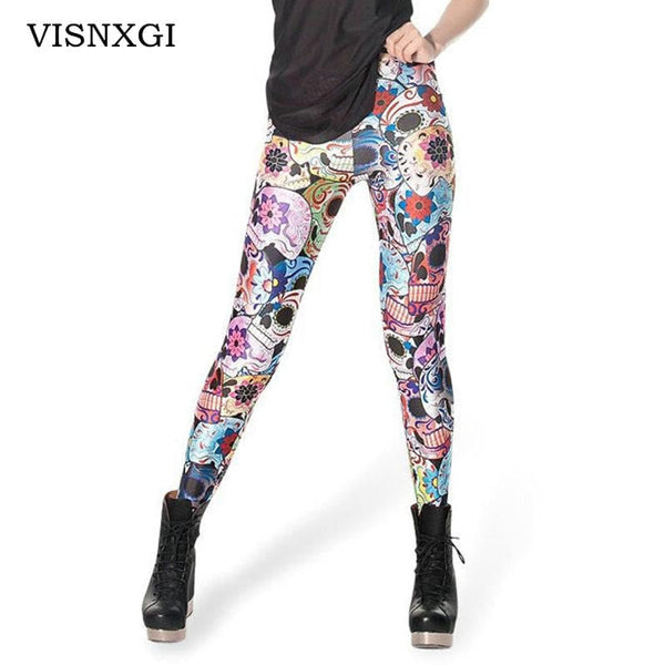 VISNXGI Living Dead High Quality Women Leggings Scotland Tartan Printed Skinny Leggins Sexy Fitness High Elastic Mujer Legging - MAXMARTZ