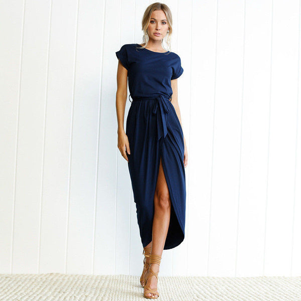 Pure Color Irregular Open Fork Dress - MAXMARTZ