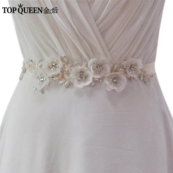 TOPQUEEN S249 Elegant Flower Evening Party Prom Dresses Accessories Wedding Sashes Belts,Bride Waistband Bridal Belts Sashes - MAXMARTZ