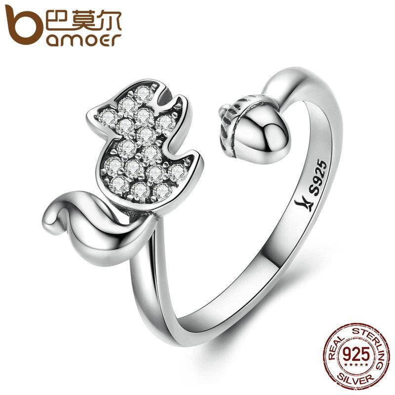 Sterling Silver Squirrels Nut Open Finger Ring Clear AAA Zircon Rings - MAXMARTZ