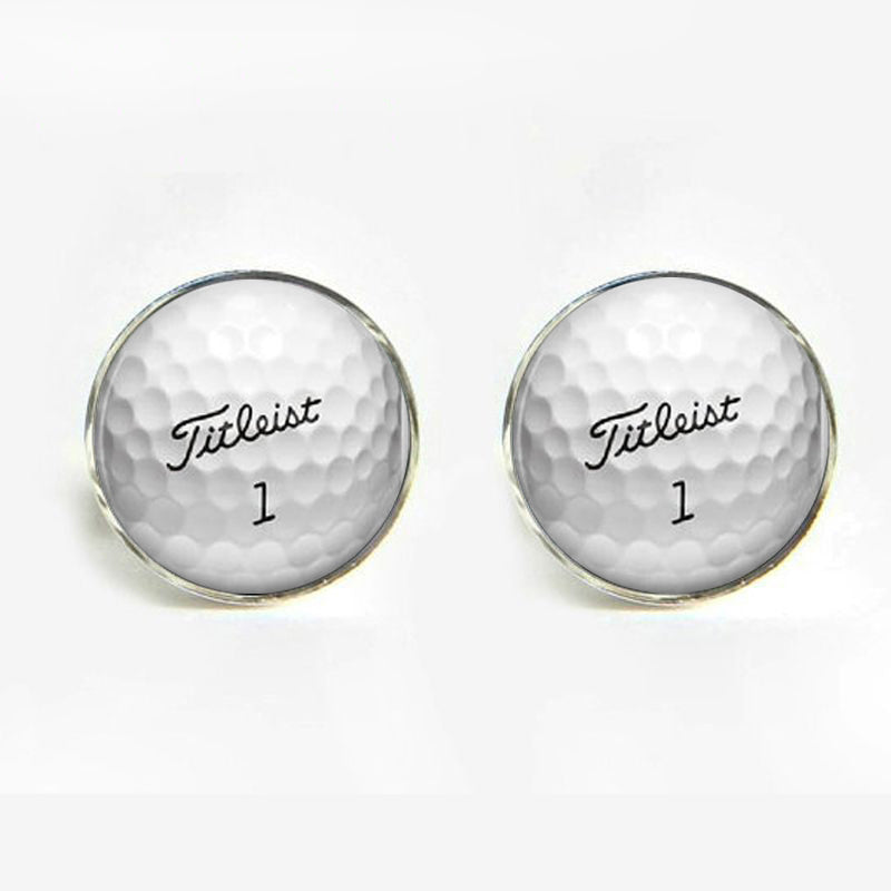 1 pair Wedding cufflinks for mens Golf Ball Cufflinks Round Glass Hand made CuffLinks men cuff links