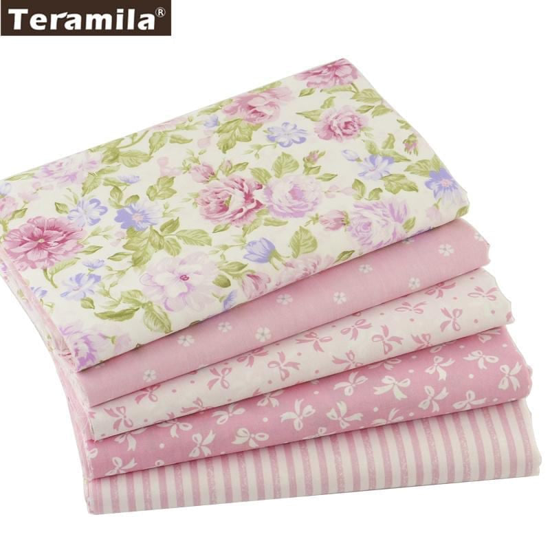 Teramila Cotton Fabric 5 pcs 40cm*50cm Pink For Sewing Fat Quarter Quilting Patchwork Tissue Tilda Doll Cloth Kids Bedding - MAXMARTZ