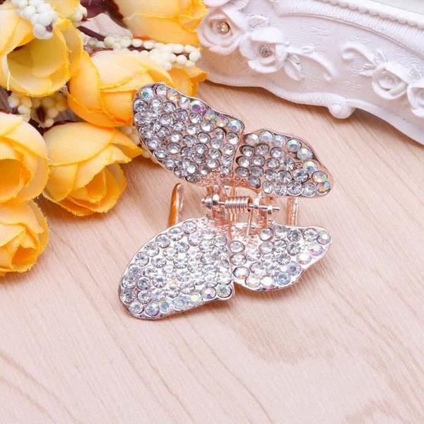 Fashion Women Girl Butterfly Claw Crystal Rhinestone Hair Clip Clamp Hairpin Jaw - MAXMARTZ