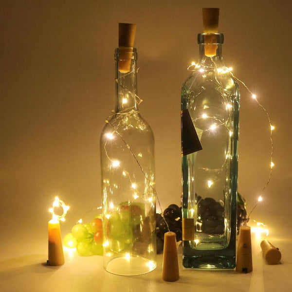 20 (2x10) LED Copper Wire String Light with Bottle Stopper - 45cm