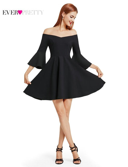 Ever Pretty New Fashion Women Cocktail Dress Black V-Neck Backless Flare Sleeve Unique Cocktail Dress - MAXMARTZ