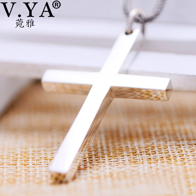 Solid Silver Cross Pendant High Quality Real Pure 925 Sterling Silver Cross Pendant For Men Women Jewelry - MAXMARTZ