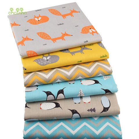 Chainho,6pcs/lot New Fox&Penguin Series Twill Cotton Fabric,Patchwork Cloth,DIY Baby&Child Sewing Quilting Fat Quarters Material - MAXMARTZ