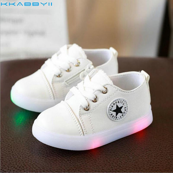KKABBYII Kids Fashion Children Led Sneakers Shoes Canvas Soft Bottom Baby Sport Toddler Shoes With Light Boys Girls Sneakers - MAXMARTZ