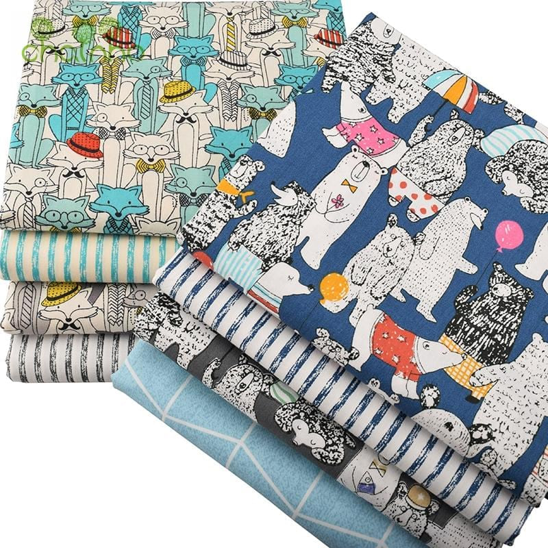 Chainho 8pcs/lot Twill Cotton Fabric,Mr.Fox & Baby Bear Patchwork Cloth,DIY Sewing Quilting Fat Quarters Material For Baby&Child