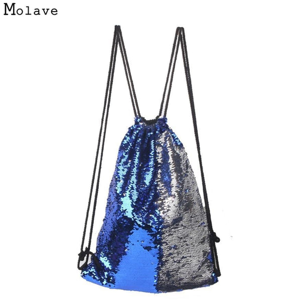 Drawstring Bag Sequins Backpack Fashion Casual Double Color Unisex Bags Zipper Pocket - MAXMARTZ
