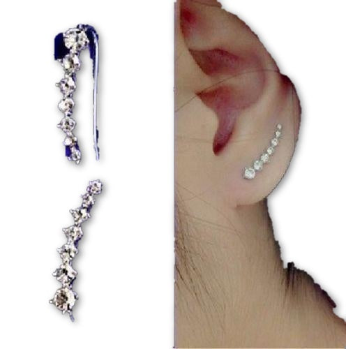 18K GP White Gold Plated Swarovski Element Crystal Earrings Ear Hook 1 Pair - MAXMARTZ
