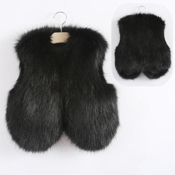 2017 Baby Autumn Winter Vest Waistcoat Children's Fur Vest Boys Girls Imitation Fur Coat Kids Faux Fur Fabric Clothes Fur Vest
