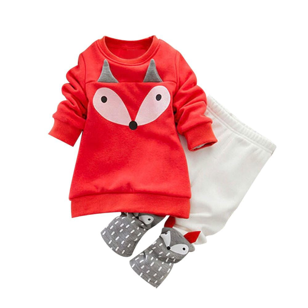 Baby Girls Jacket Winter Autumn Toddler Baby Boy Girl Fox Long Sleeve Sweatershirt Top + Pants Outfits Set Clothes - MAXMARTZ